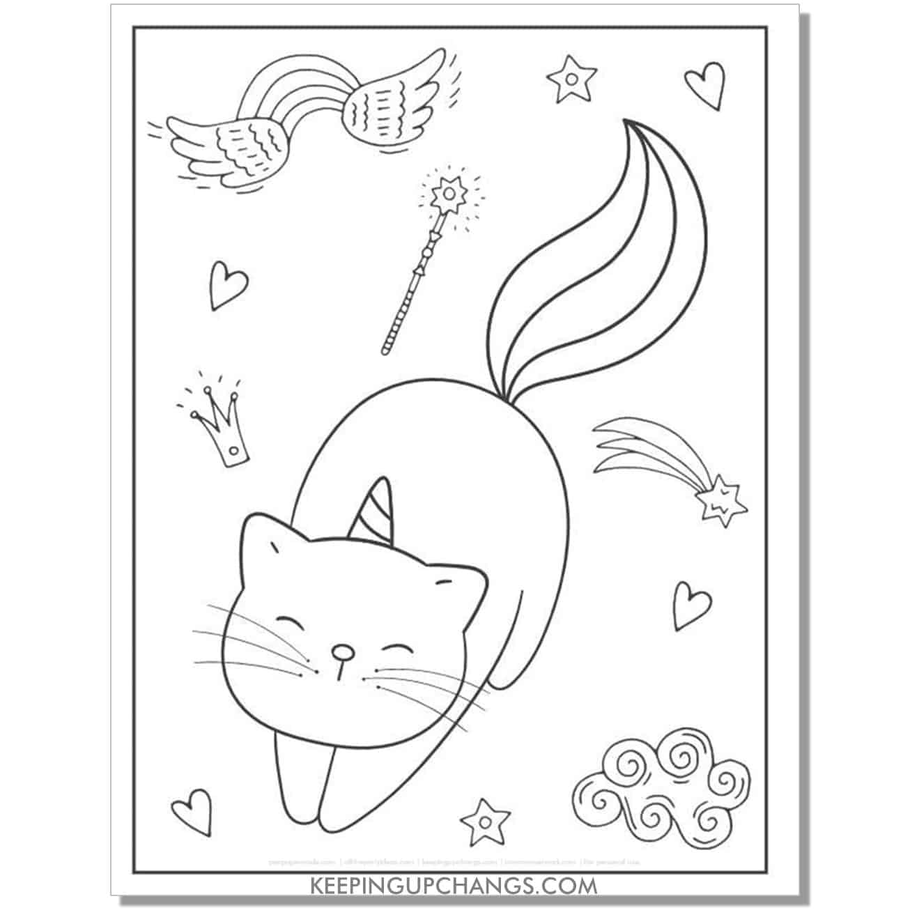 cat unicorn with wand, fairy, princess crown coloring page.