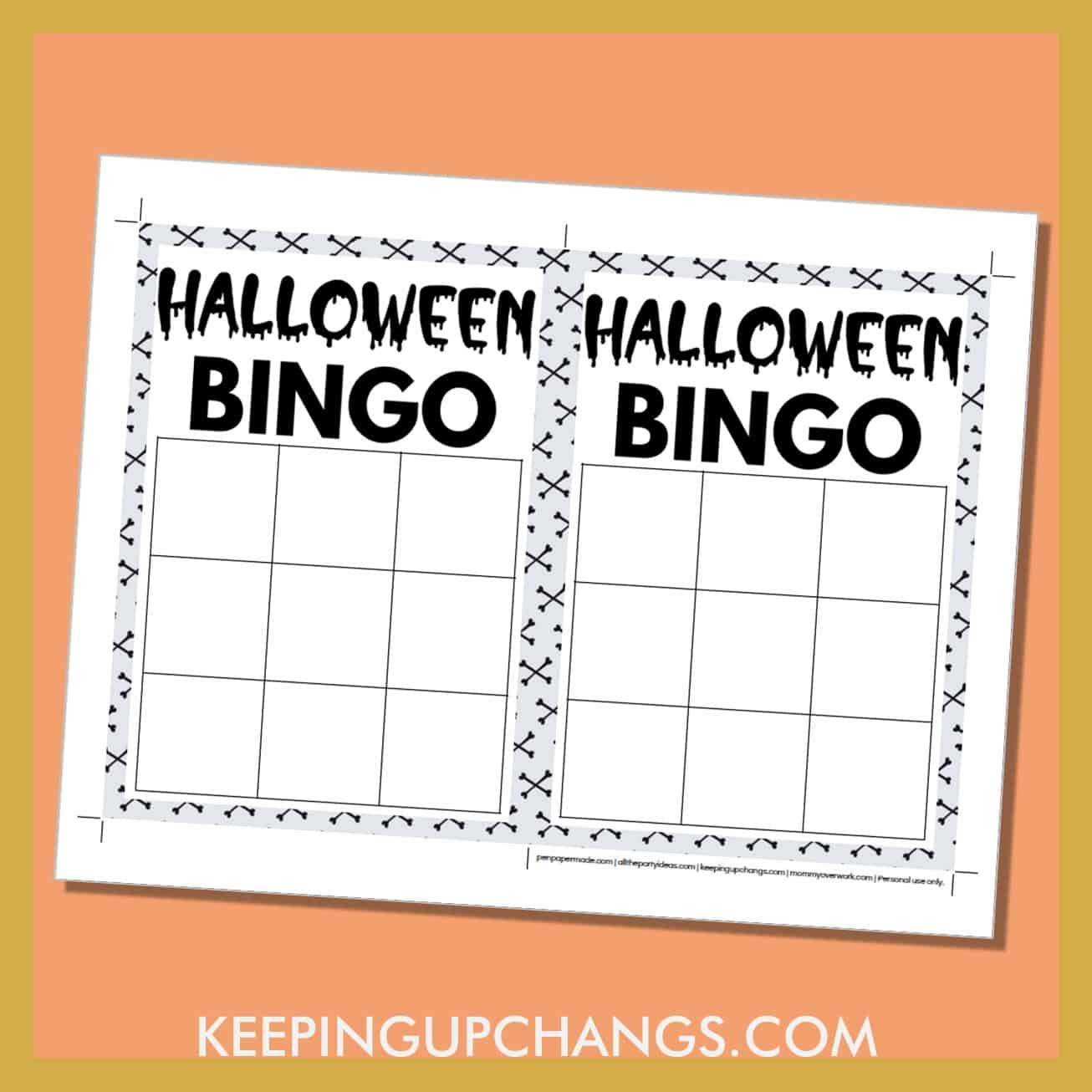 free halloween bingo 3x3 grid black white game board blank template.