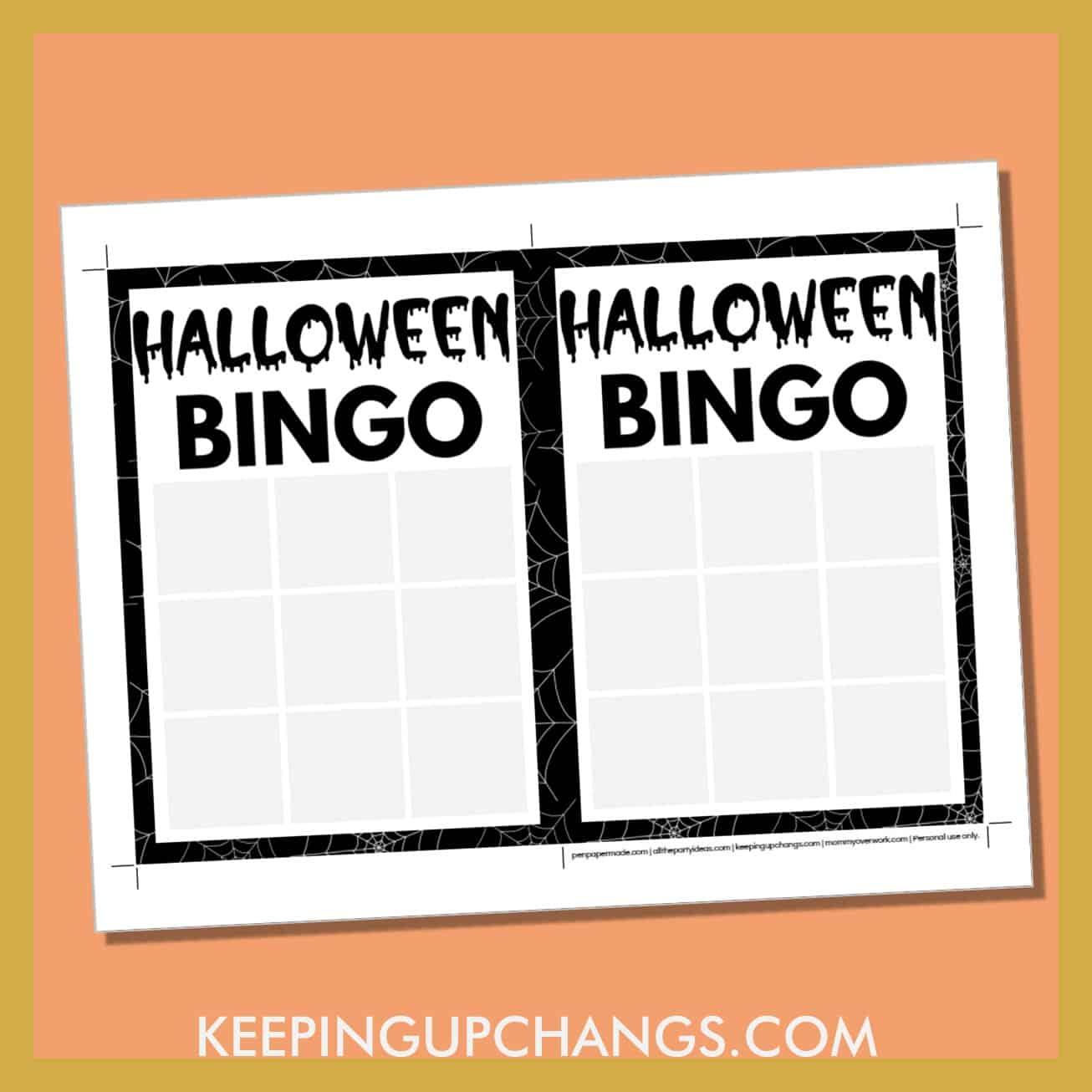 free halloween bingo 3x3 grid game board blank template.