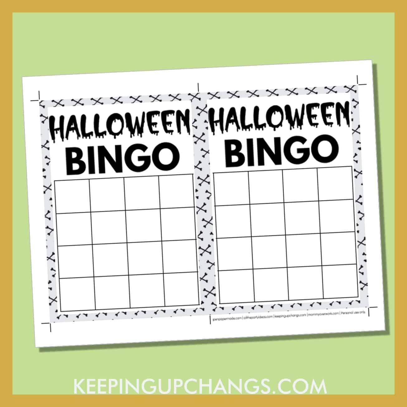 free halloween bingo 4x4 grid black white game board blank template.
