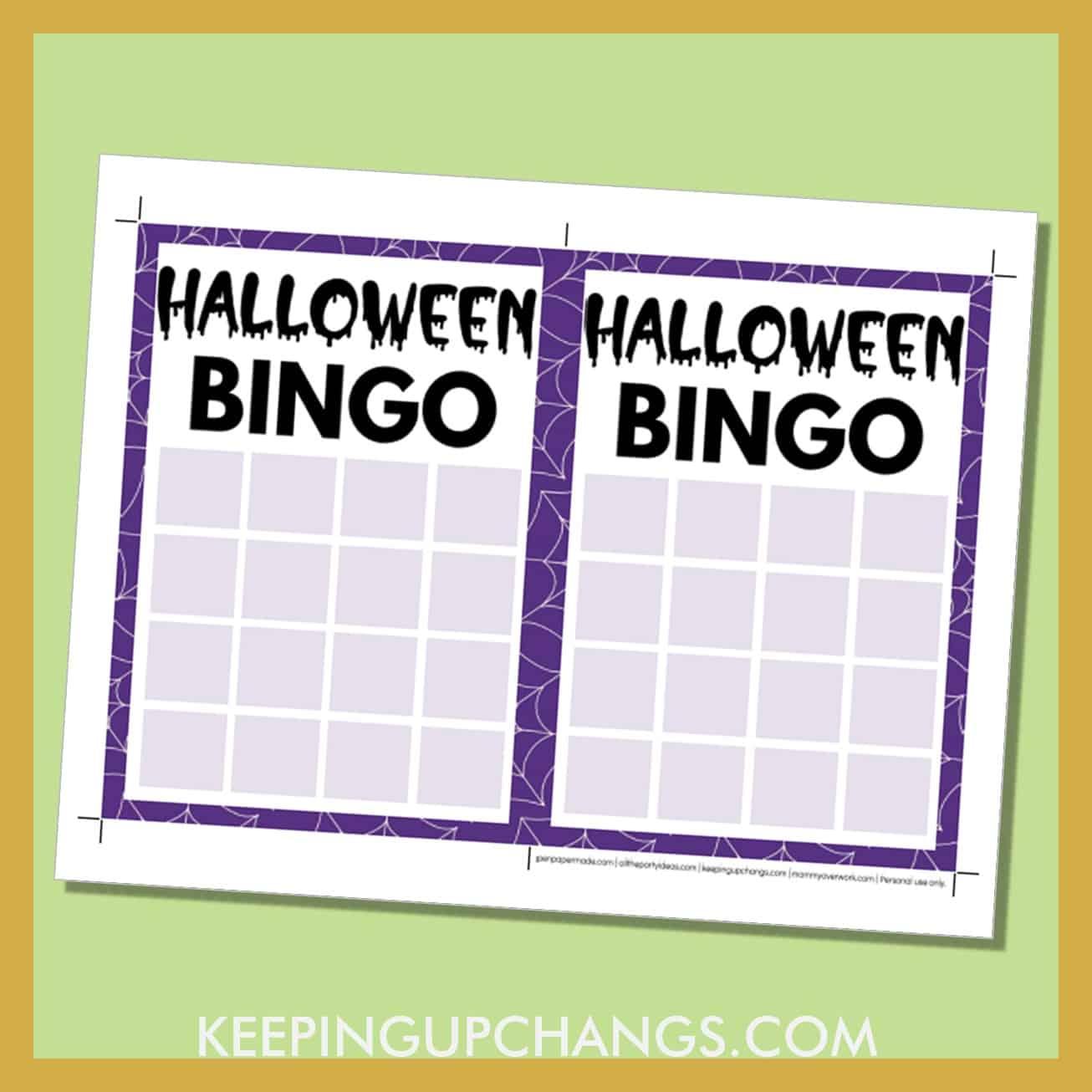 free halloween bingo 4x4 grid game board blank template.