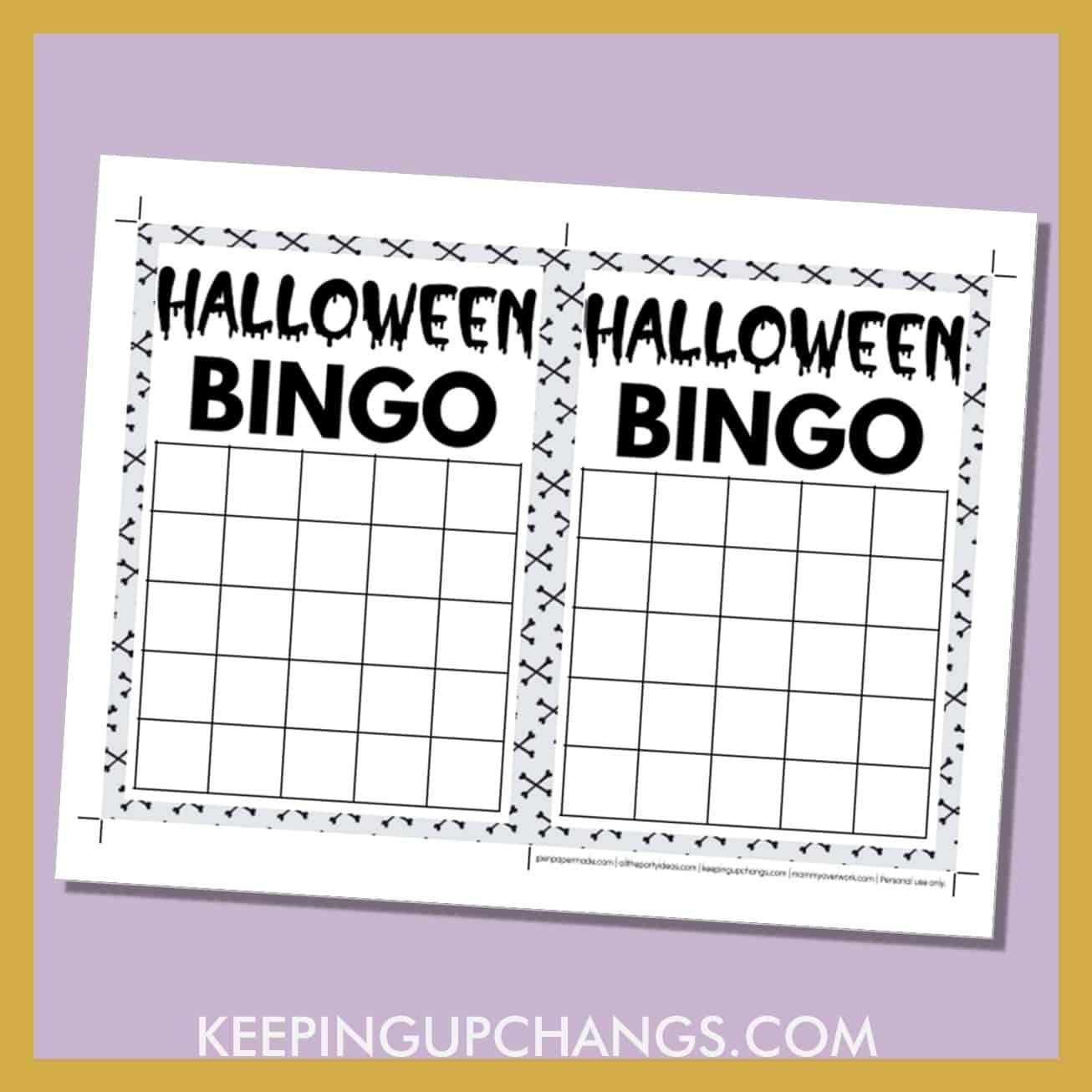 free halloween bingo 5x5 grid black white game board blank template.