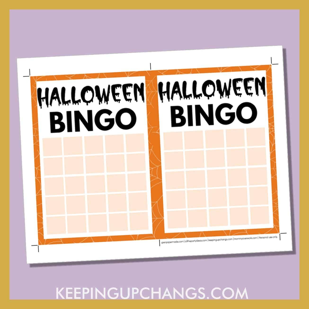 free halloween bingo 5x5 grid game board blank template.