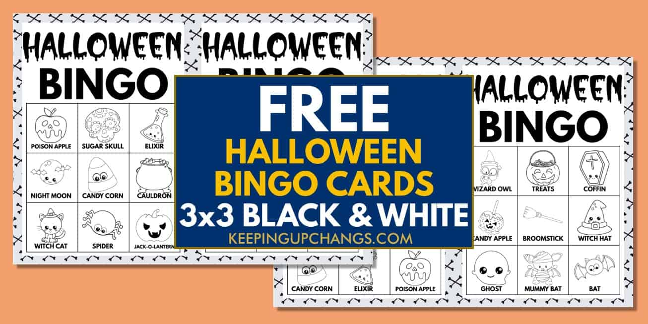 free fall halloween bingo cards 3x3 black white coloring for party, school, group.