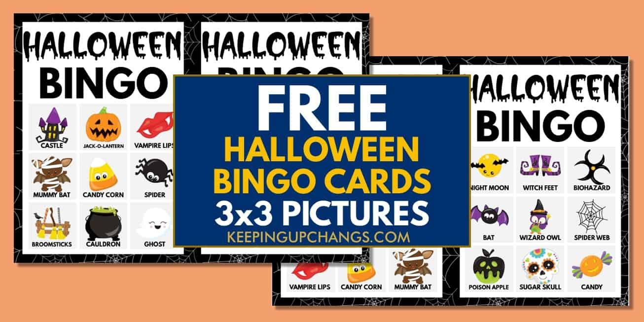 free fall halloween bingo cards 3x3 for party, school, group.