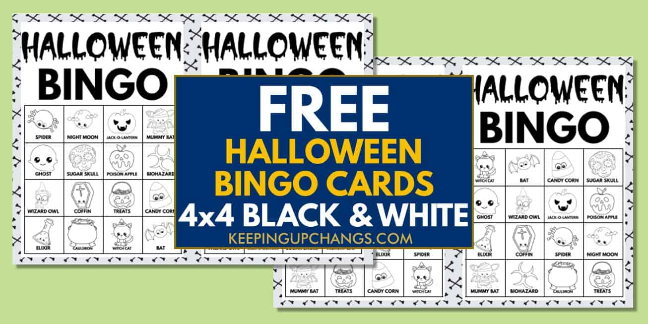 free fall halloween bingo cards 4x4 black white coloring for party, school, group.