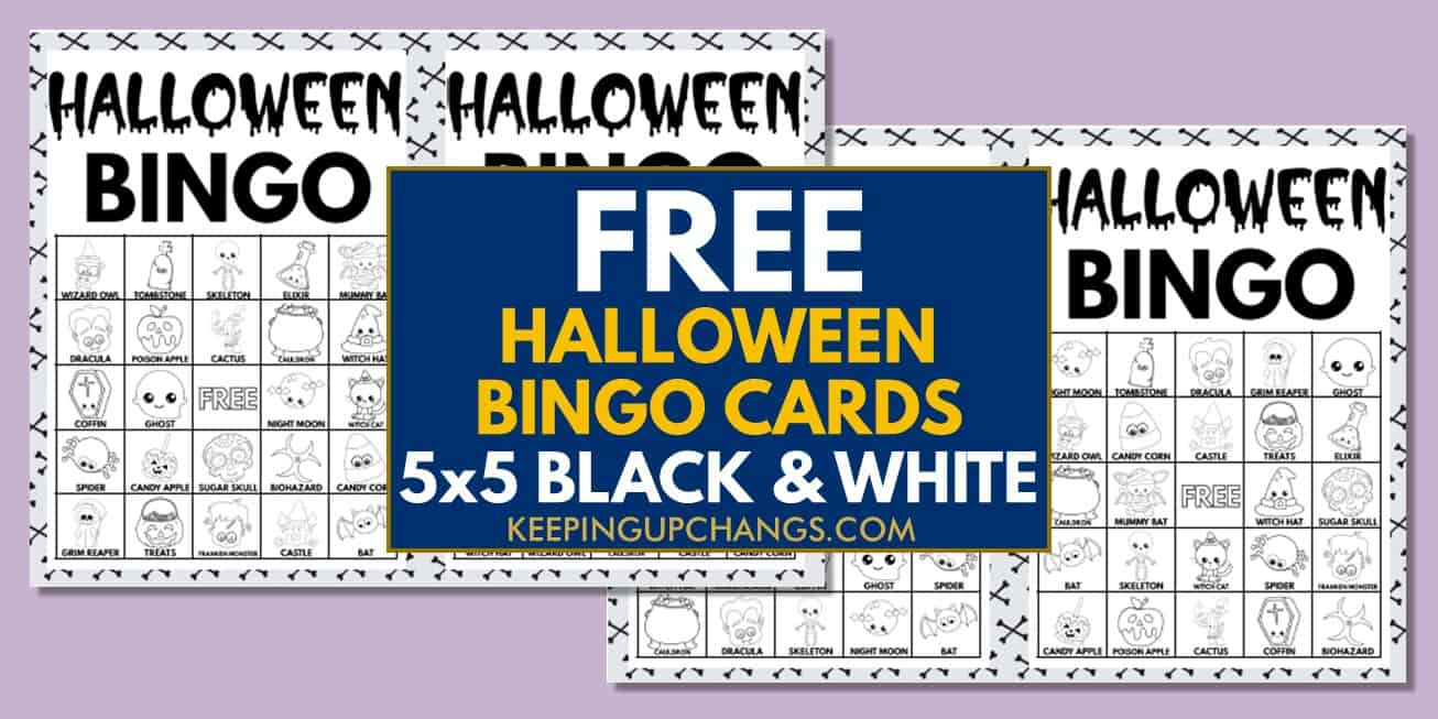 free fall halloween bingo cards 5x5 black white coloring for party, school, group..