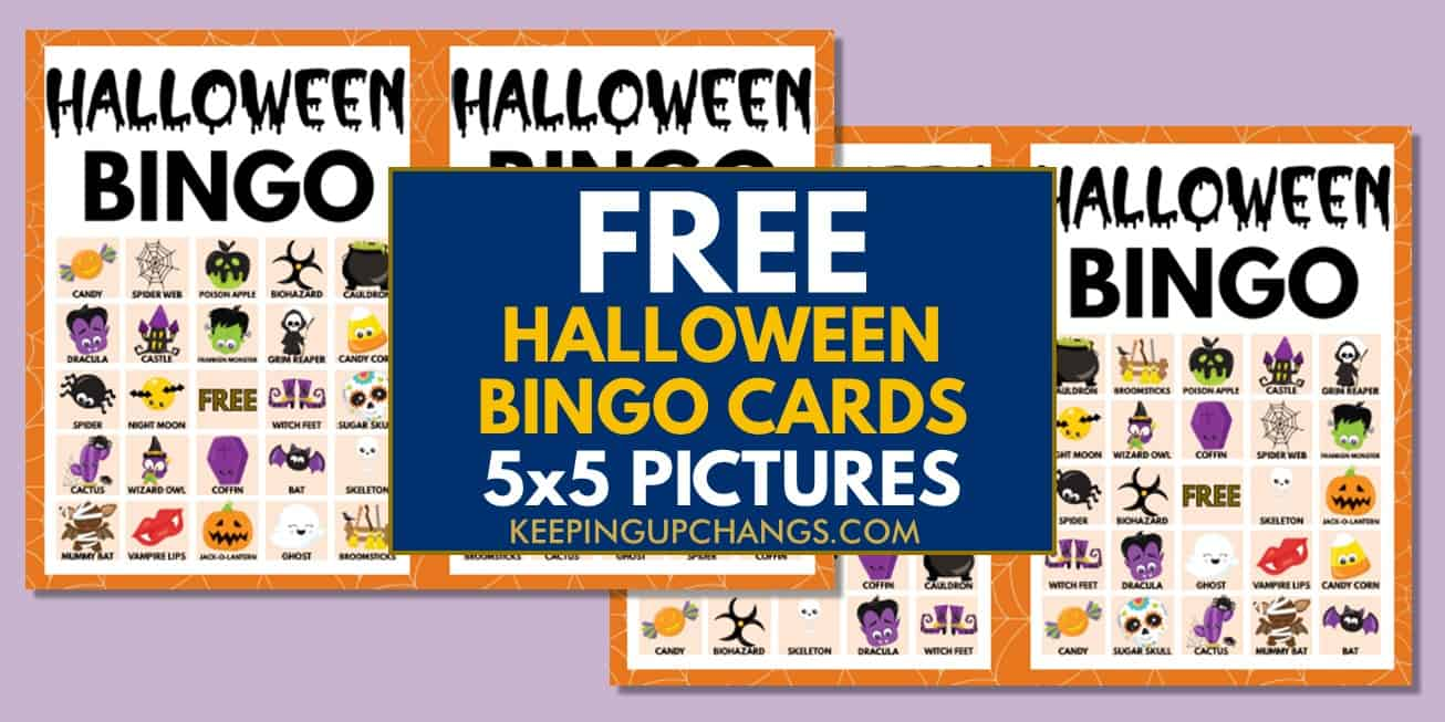free fall halloween bingo cards 5x5 for party, school, group.