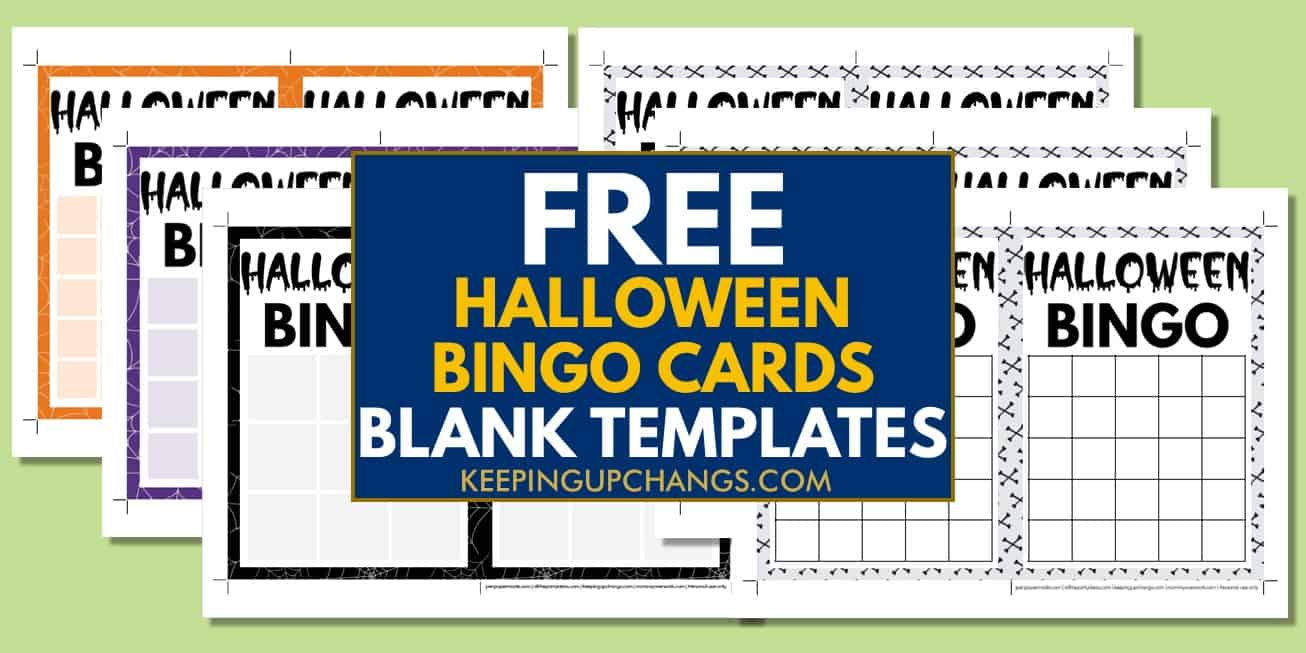 free fall halloween bingo cards blank templates 3x3, 4x4, 5x5 for party, school, group.