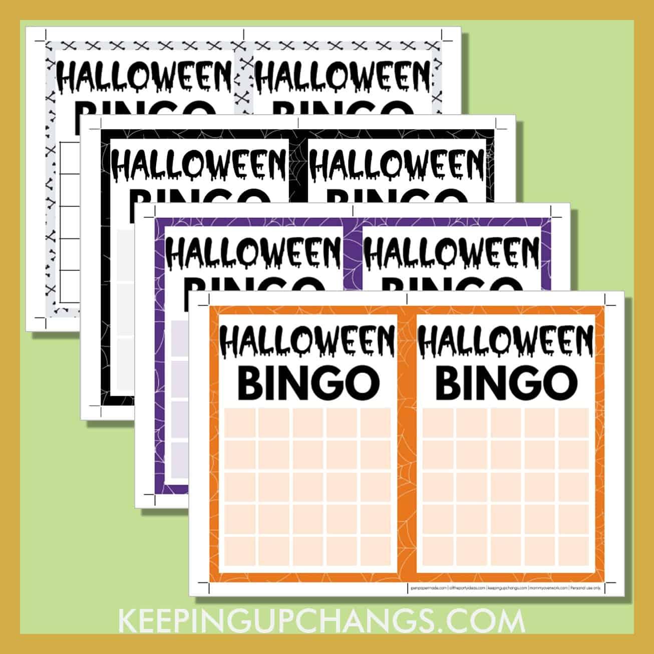 free blank halloween bingo card printable templates in 3x3, 4x4 and 5x5 grids.