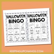 free fall halloween bingo card 3x3 5x7 black white coloring game boards with images and text words.