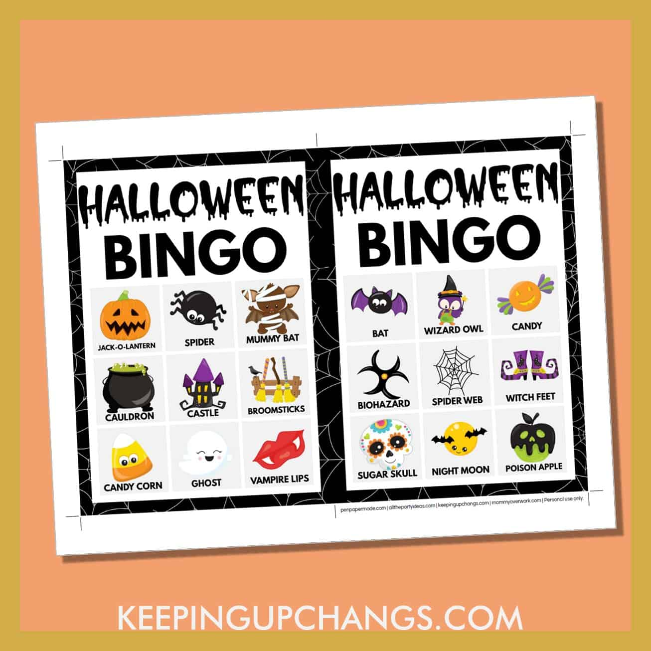 free fall halloween bingo card 3x3 5x7 game boards with images and text words.