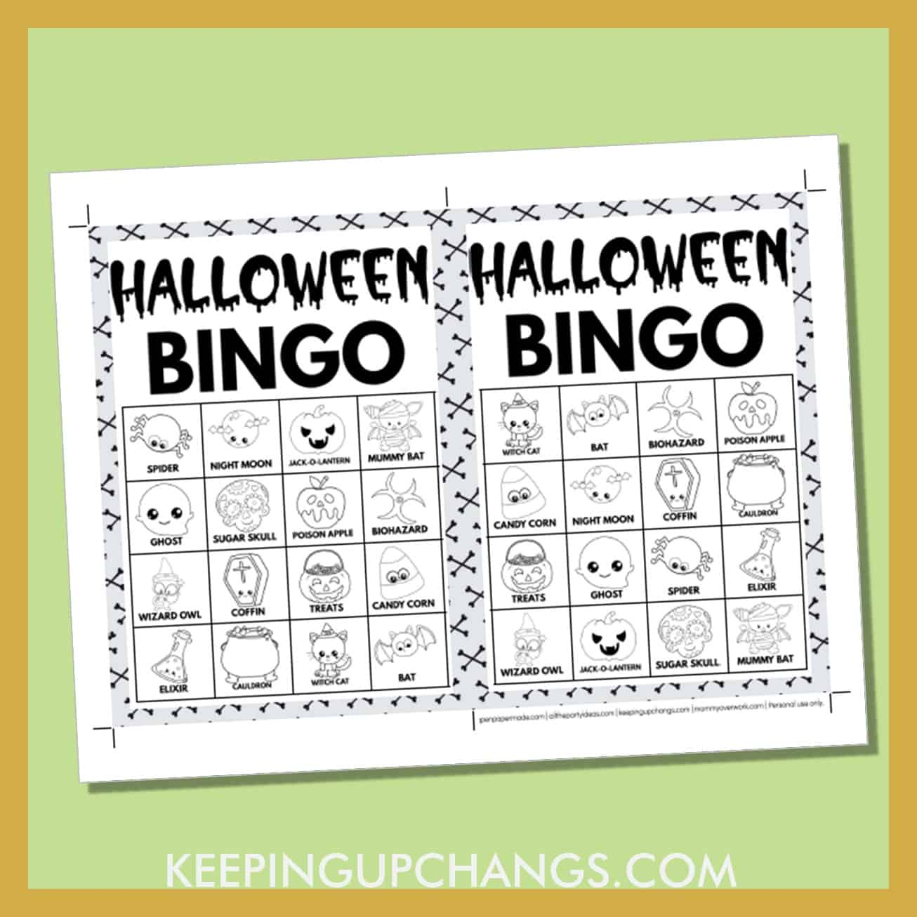 free fall halloween bingo card 4x4 5x7 black white coloring game boards with images and text words.