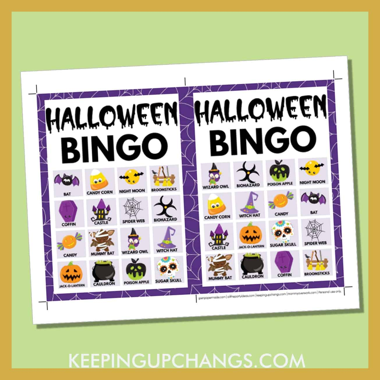 free fall halloween bingo card 4x4 5x7 game boards with images and text words.