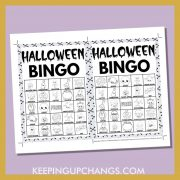 free fall halloween bingo card 5x5 5x7 black white coloring game boards with images and text words.