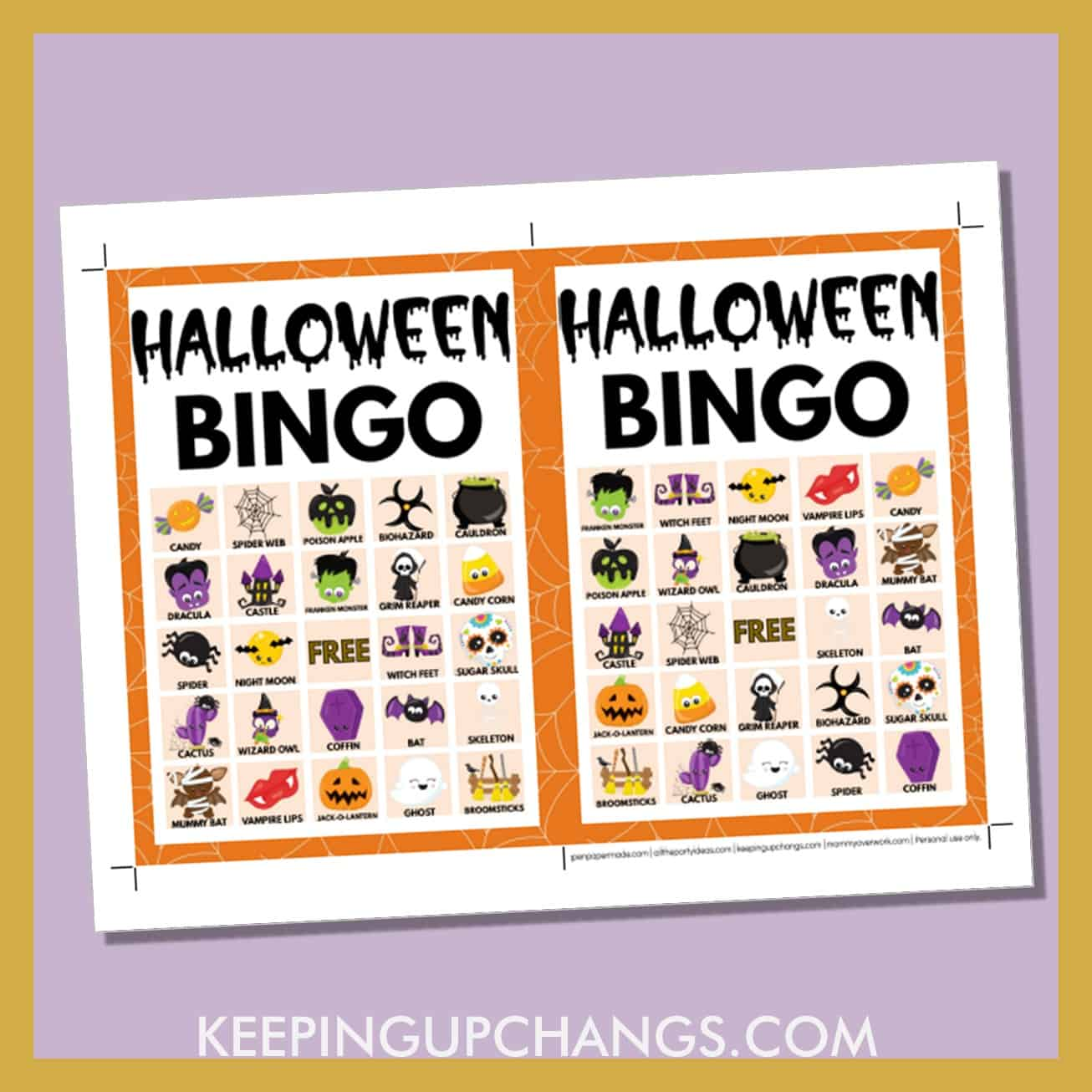 free fall halloween bingo card 5x5 5x7 game boards with images and text words.