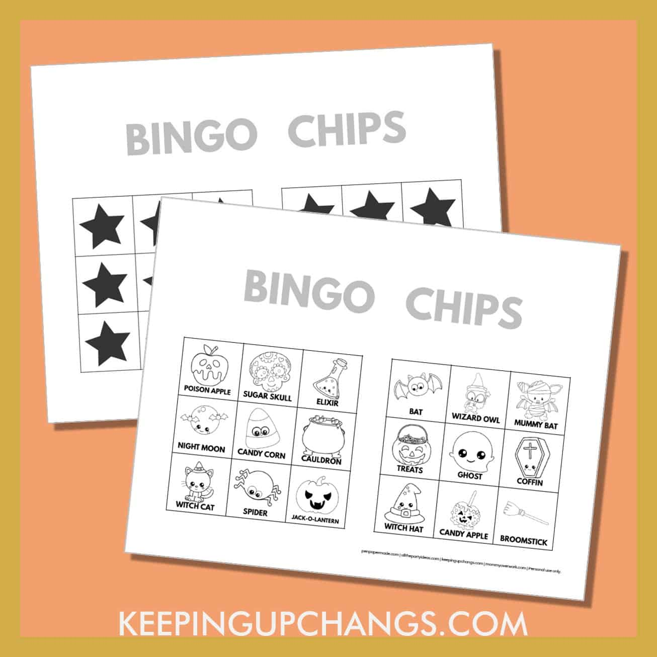free fall halloween bingo card 3x3 black white coloring game chips, tokens, markers.