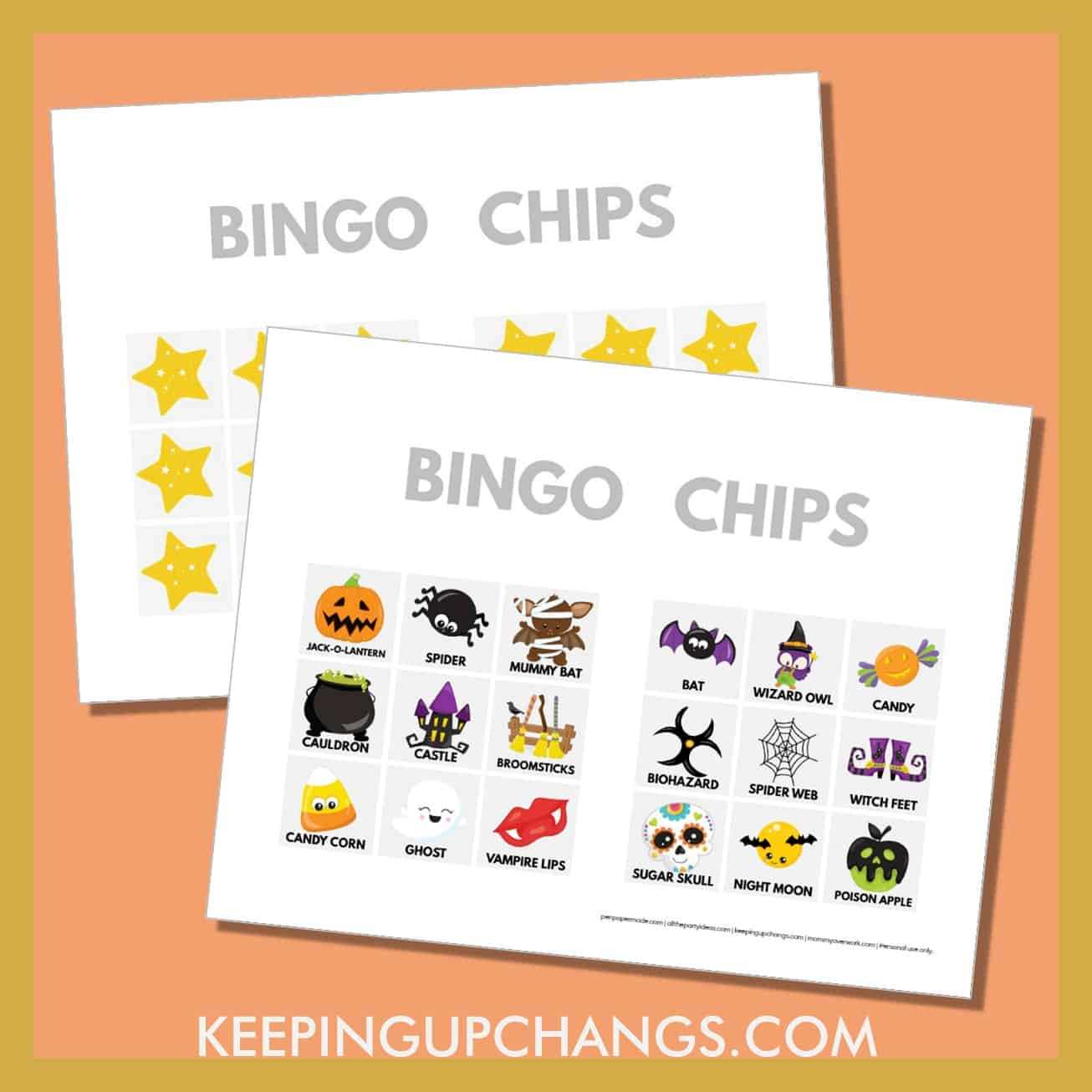 free fall halloween bingo card 3x3 game chips, tokens, markers.