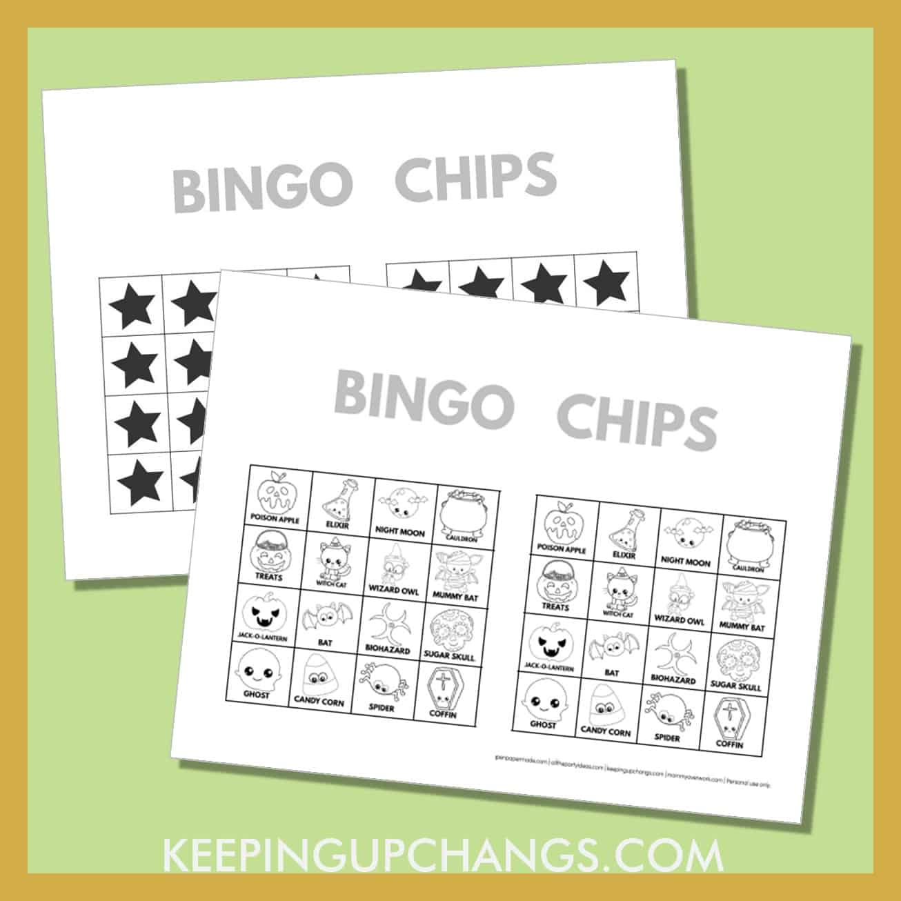 free fall halloween bingo card 4x4 black white coloring game chips, tokens, markers.