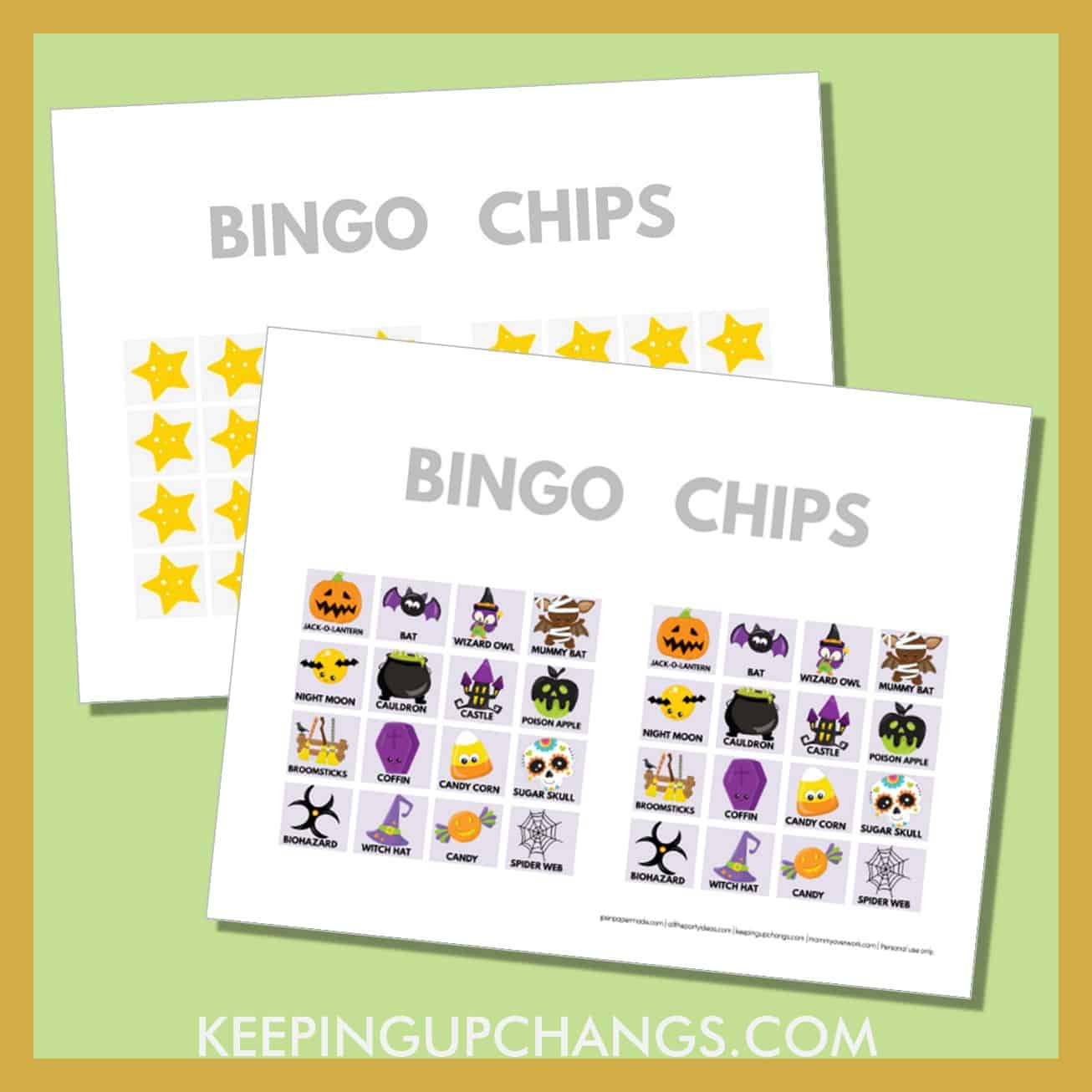 free fall halloween bingo card 4x4 game chips, tokens, markers.
