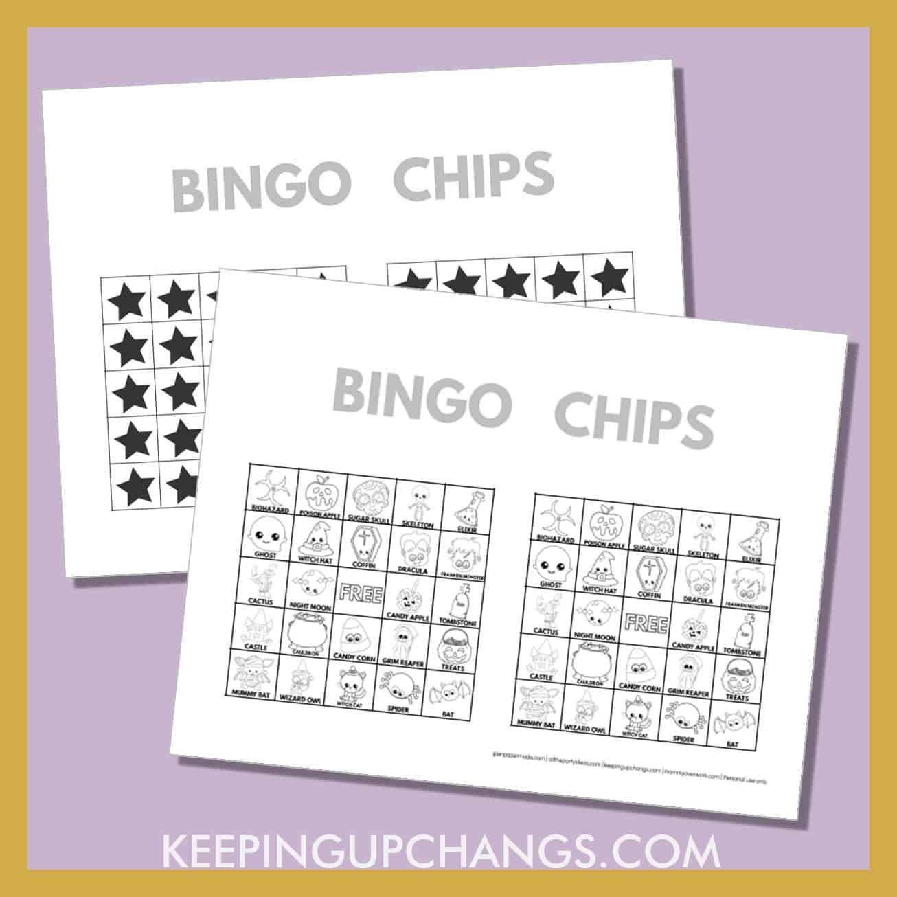 free fall halloween bingo card 5x5 black white coloring game chips, tokens, markers.