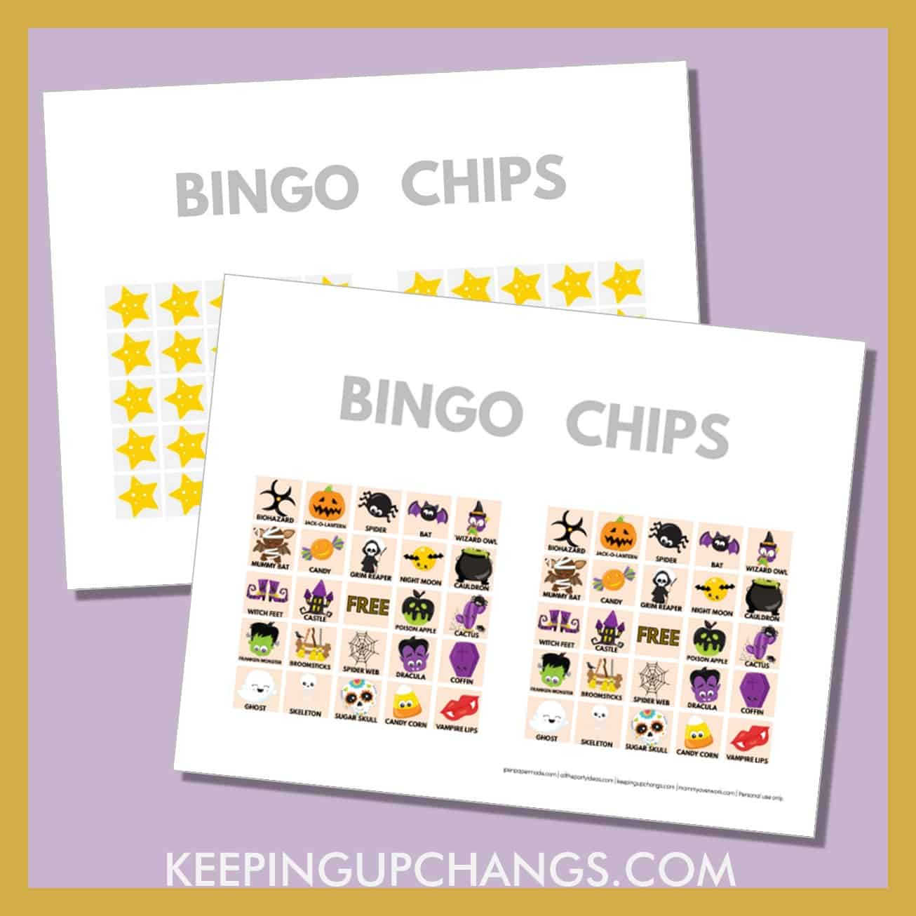 free fall halloween bingo card 5x5 game chips, tokens, markers.