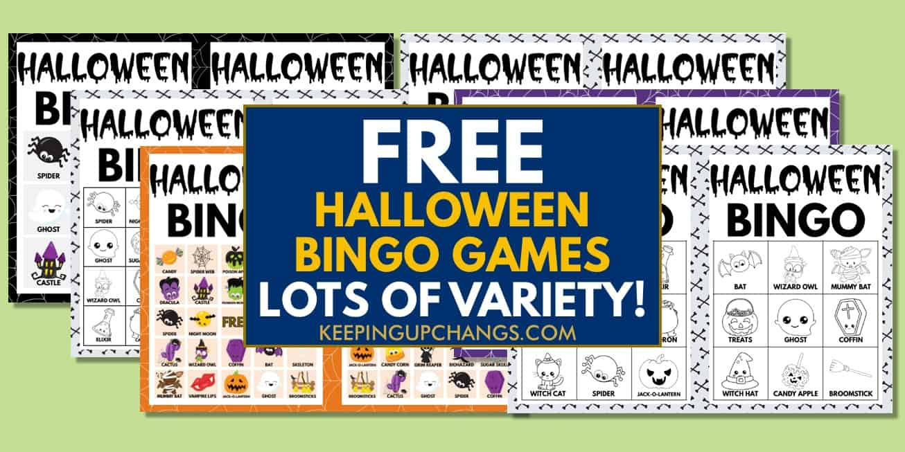 best free halloween bingo games with images and text, for coloring, icebreaker, harry potter and more.