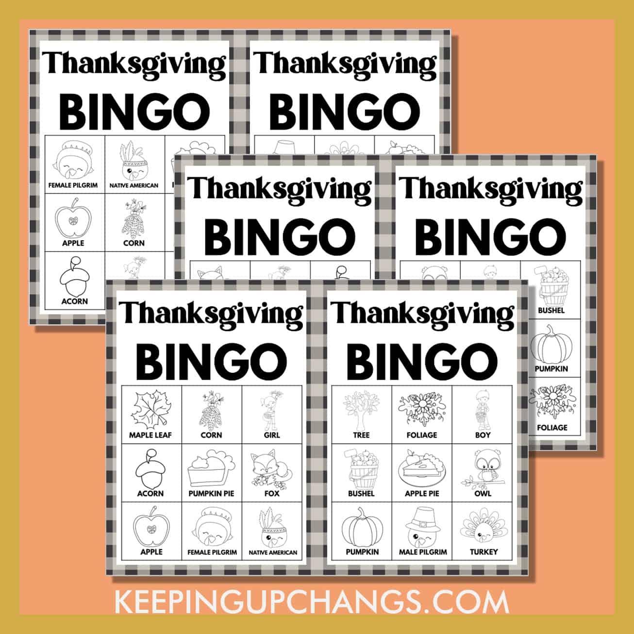 free fall thanksgiving bingo 3x3 black white coloring game cards.