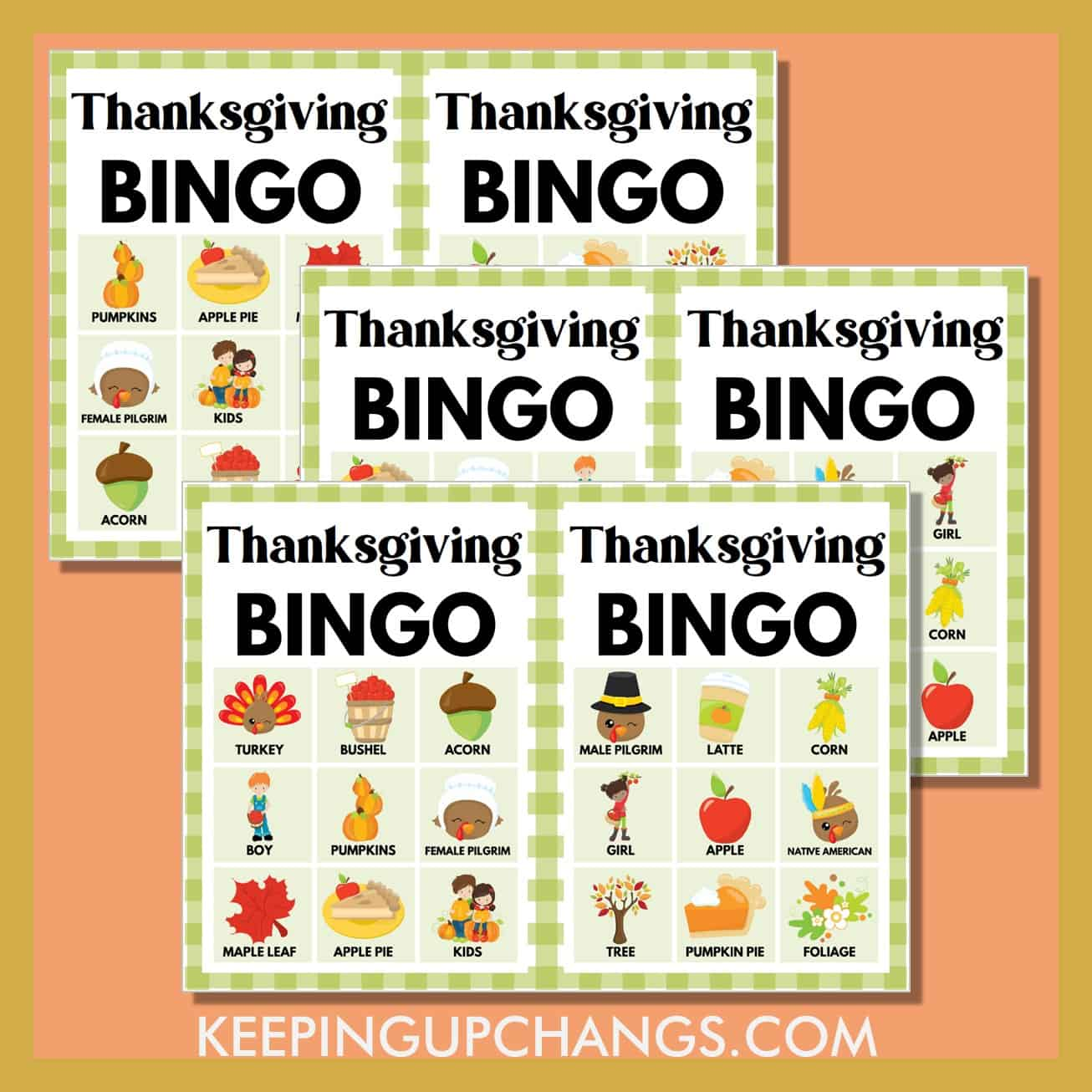 free fall thanksgiving bingo 3x3 game cards.