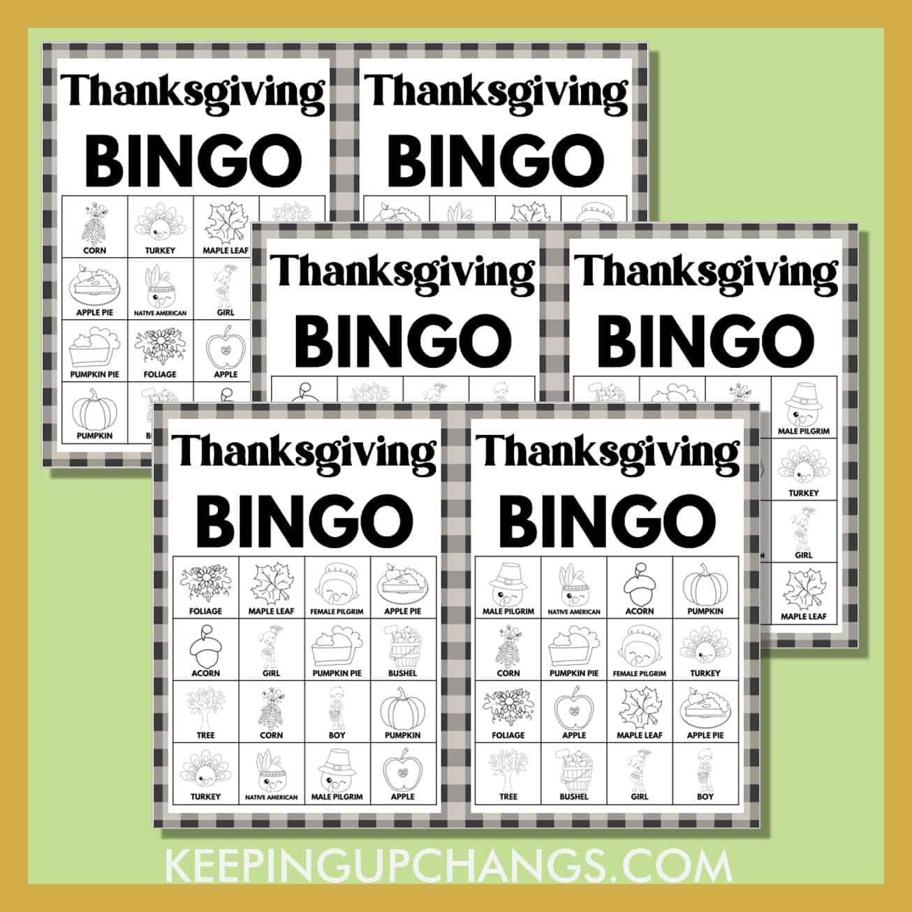 free fall thanksgiving bingo 4x4 black white coloring game cards.