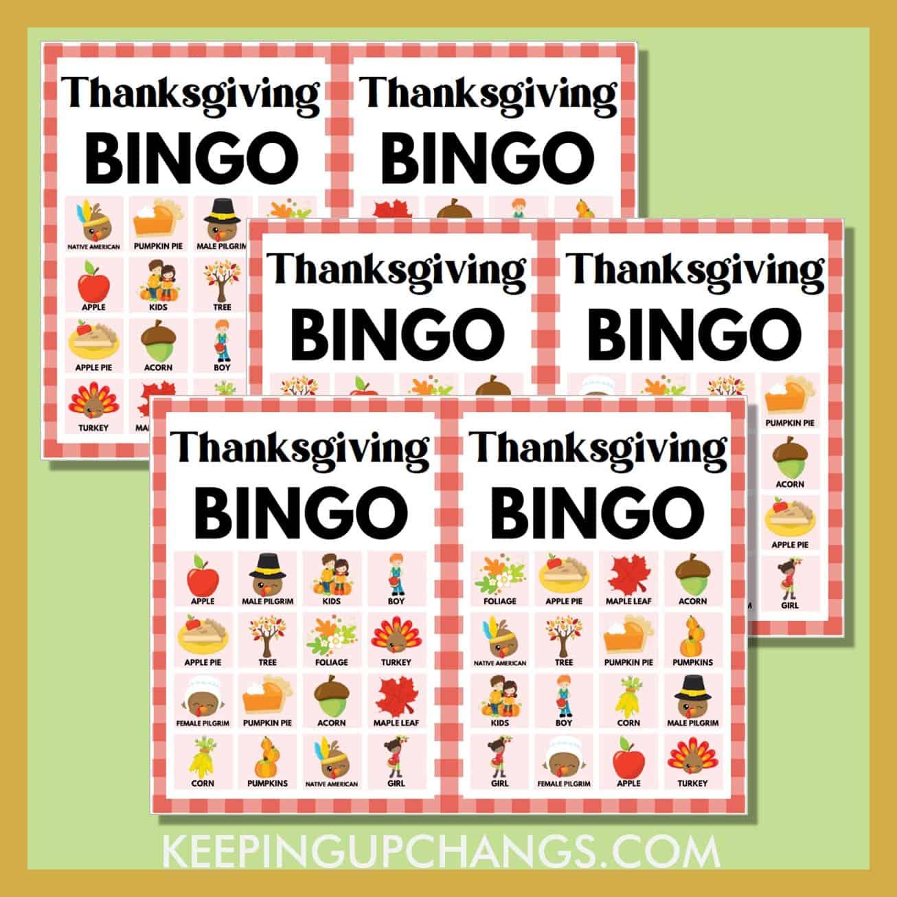 free fall thanksgiving bingo 4x4 game cards.