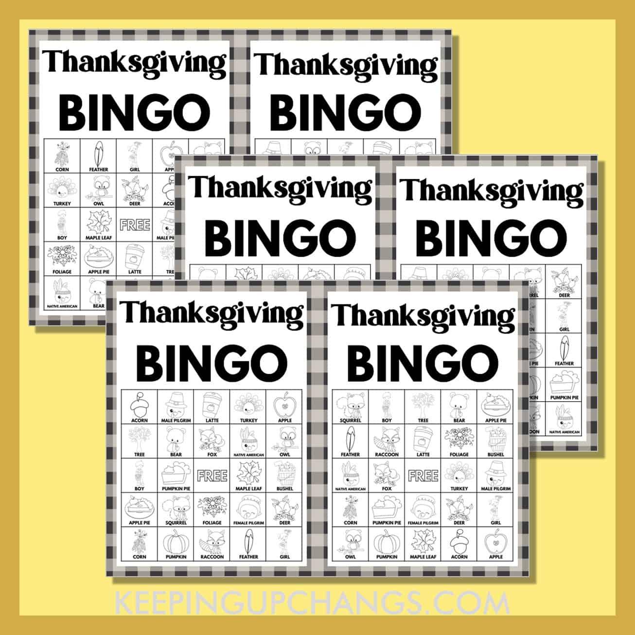 free fall thanksgiving bingo 5x5 black white coloring game cards.