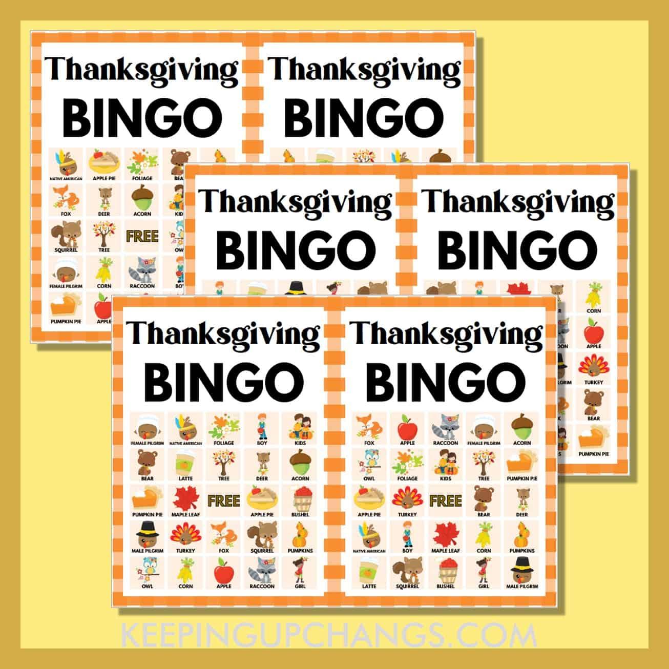 free fall thanksgiving bingo 5x5 game cards.