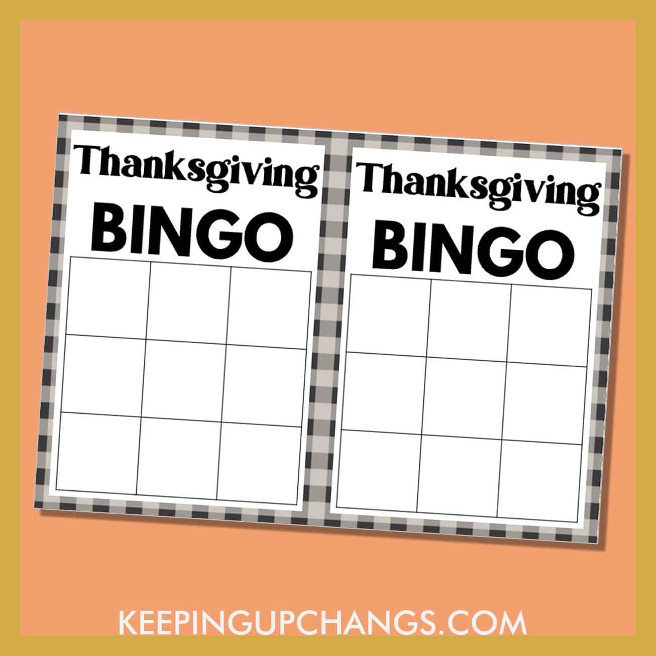 free thanksgiving bingo 3x3 grid black white game board blank template.