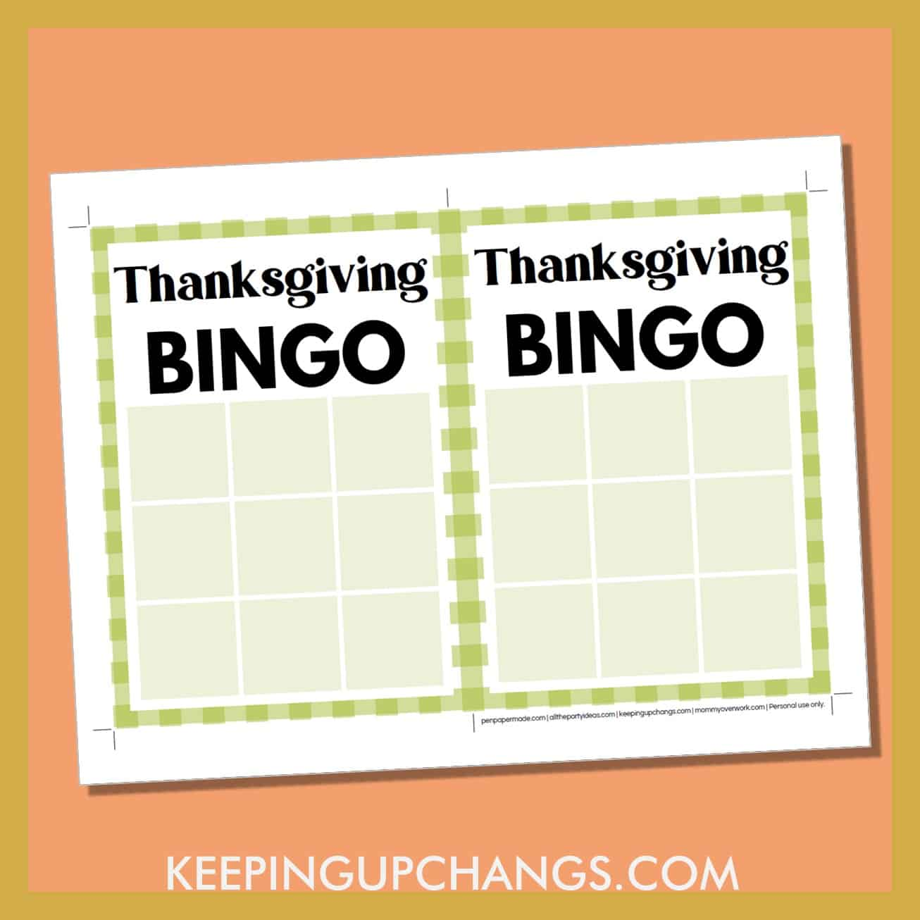 free thanksgiving bingo 3x3 grid game board blank template.