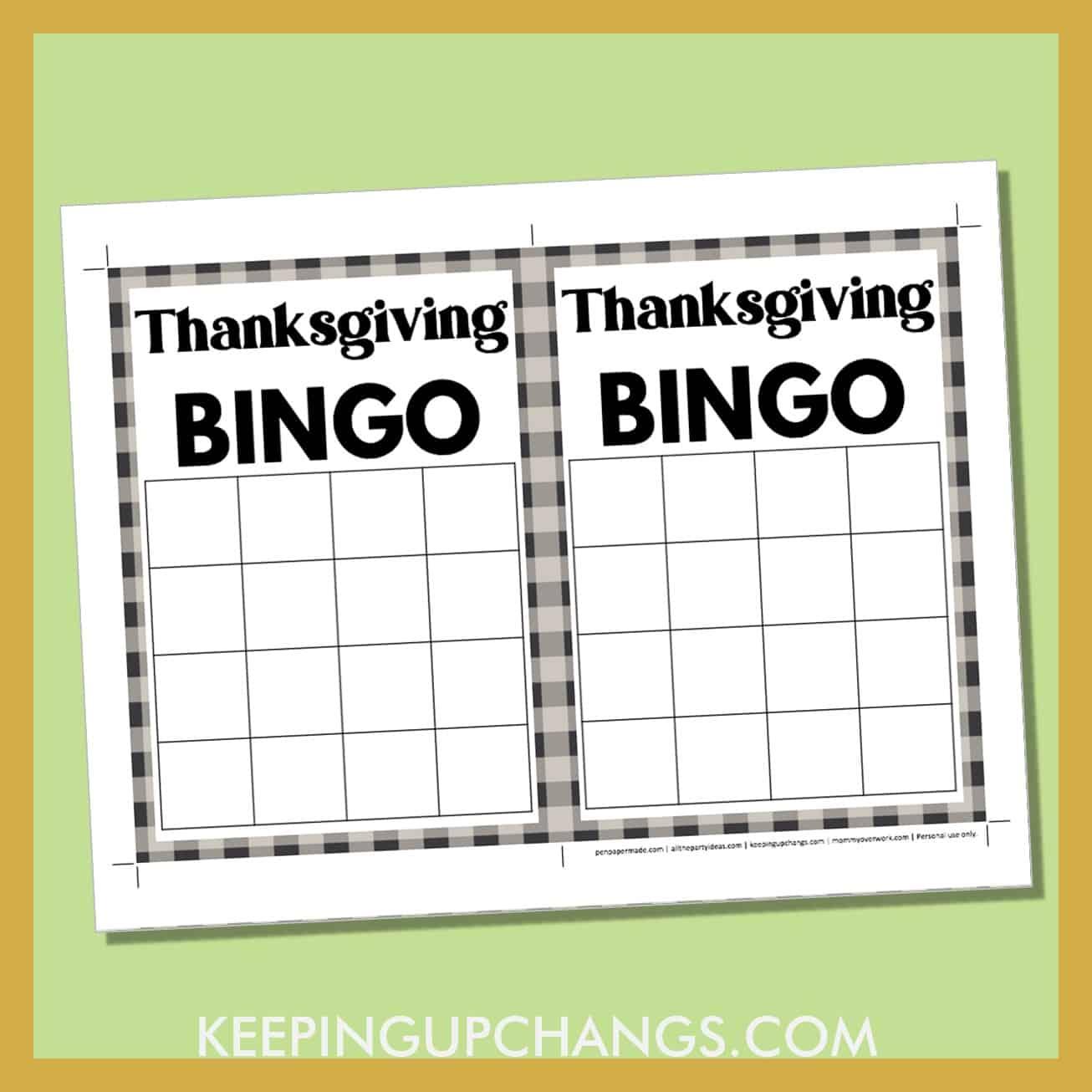 free thanksgiving bingo 4x4 grid black white game board blank template.