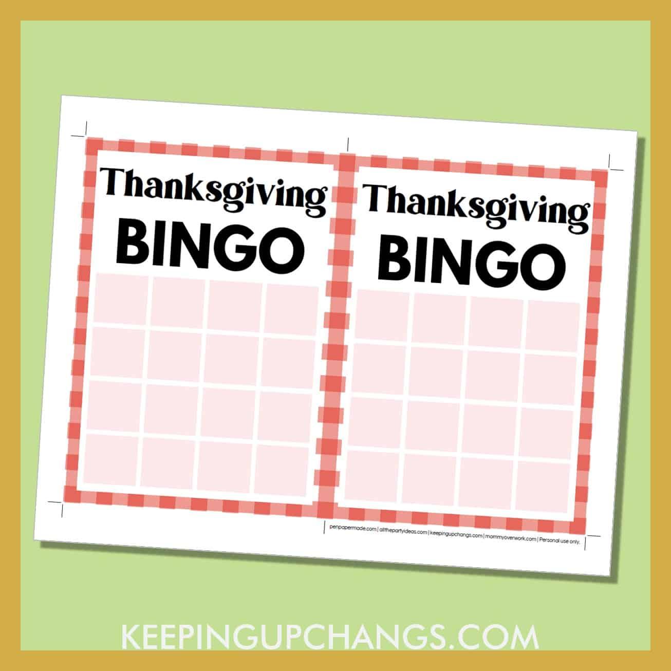 free thanksgiving bingo 4x4 grid game board blank template.