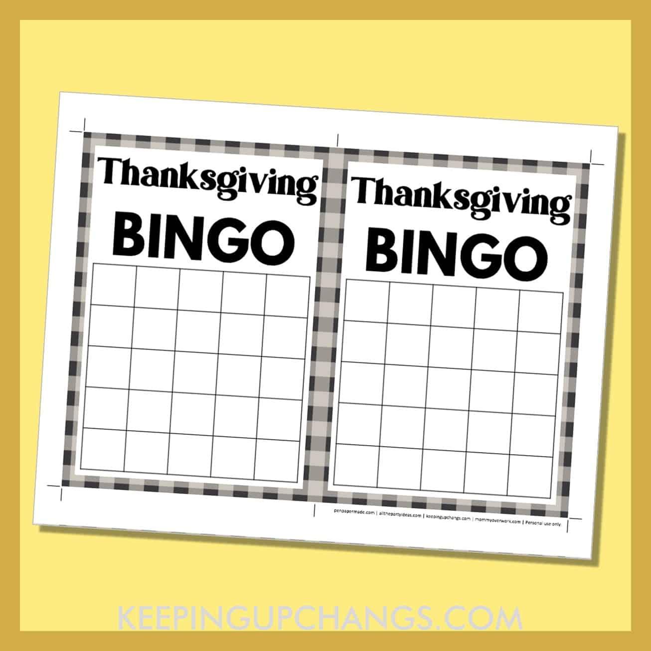 free thanksgiving bingo 5x5 grid black white game board blank template.