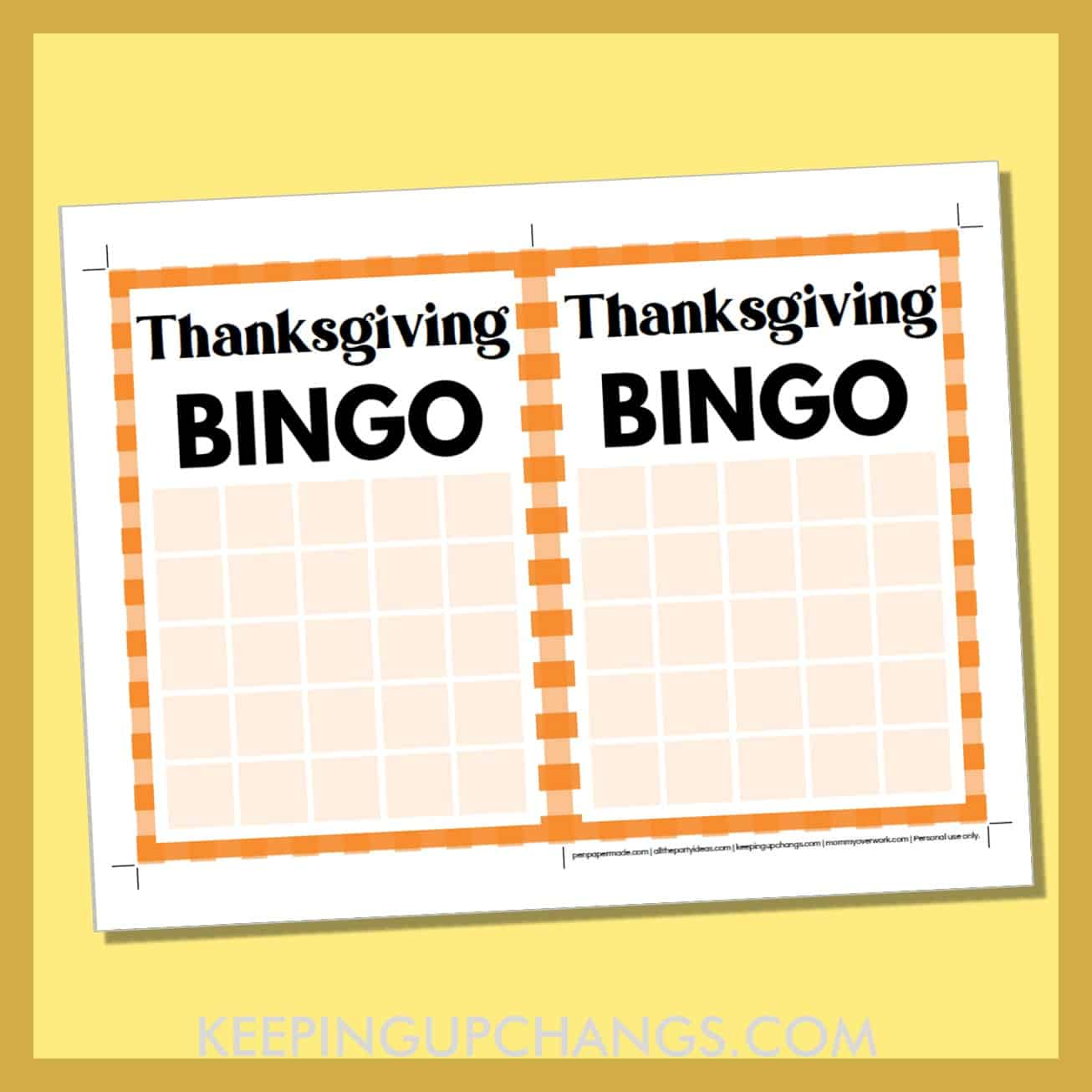 free thanksgiving bingo 5x5 grid game board blank template.