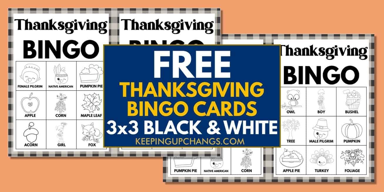 free fall thanksgiving bingo cards 3x3 black white coloring for party, school, group.