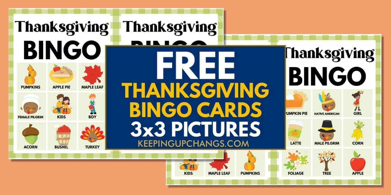 free fall thanksgiving bingo cards 3x3 for party, school, group.