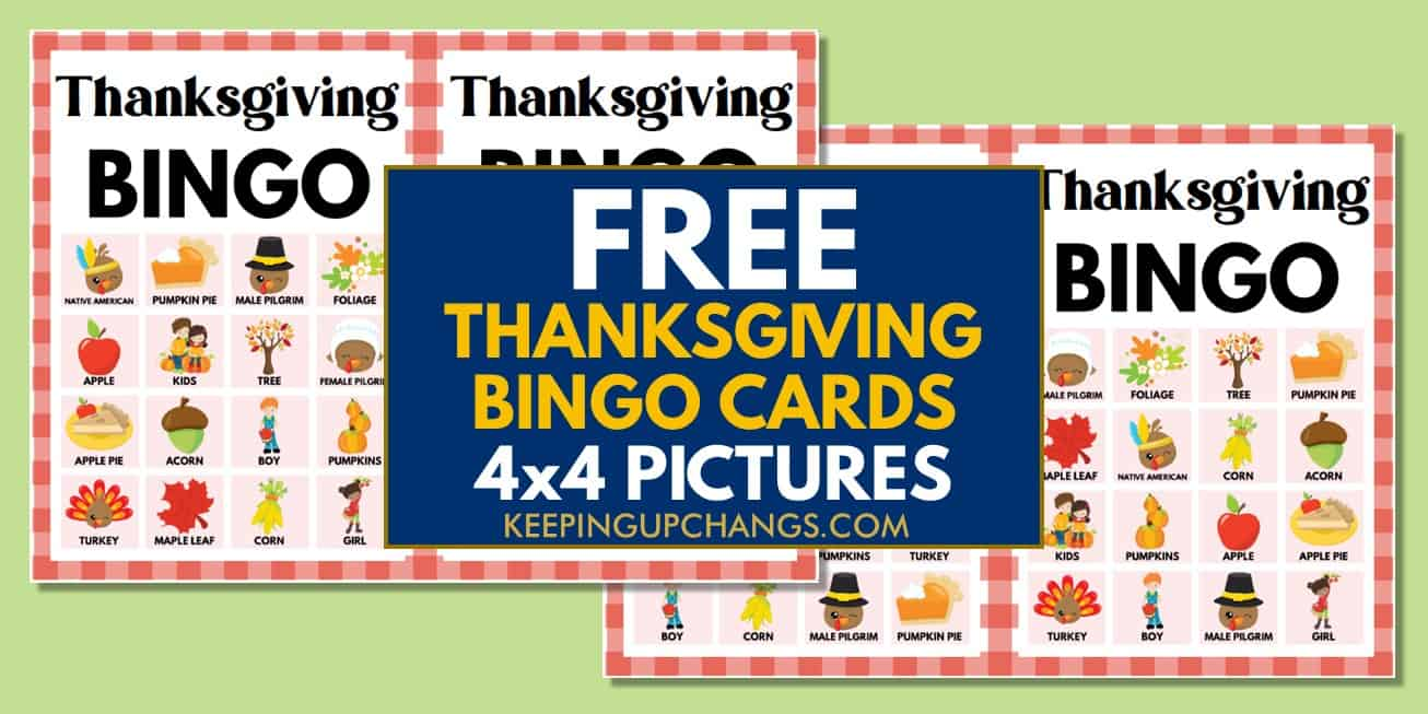 free fall thanksgiving bingo cards 4x4 for party, school, group.