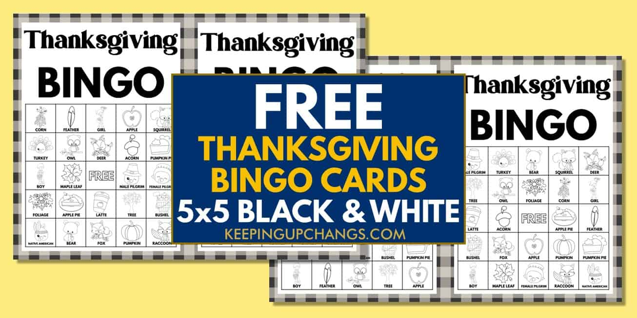 free fall thanksgiving bingo cards 5x5 black white coloring for party, school, group.