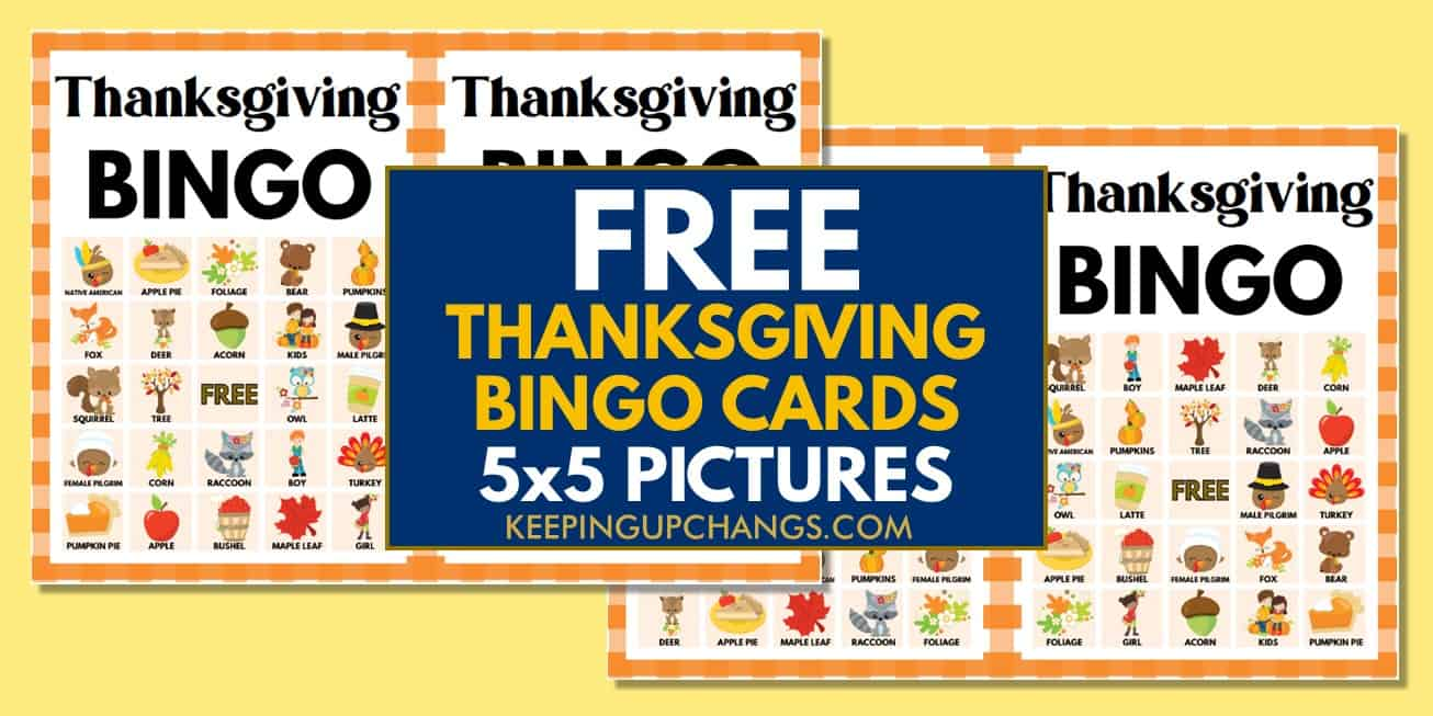 free fall thanksgiving bingo cards 5x5 for party, school, group.