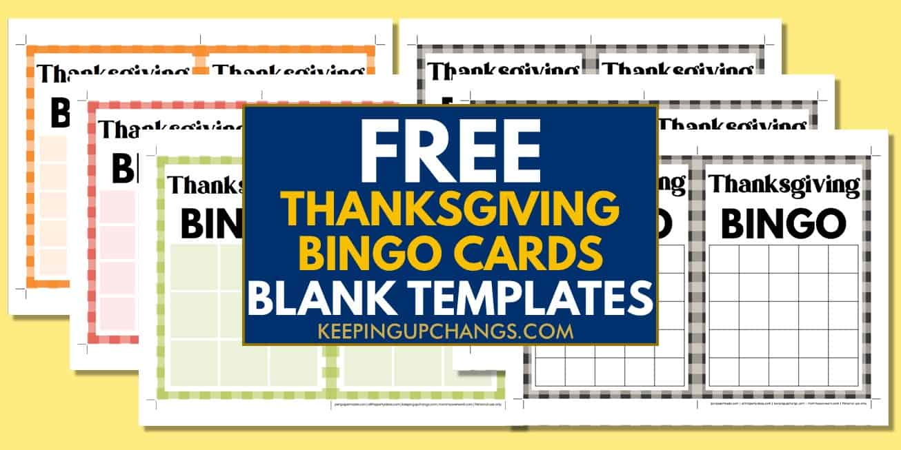 free fall thanksgiving bingo cards blank templates 3x3, 4x4, 5x5 for party, school, group.