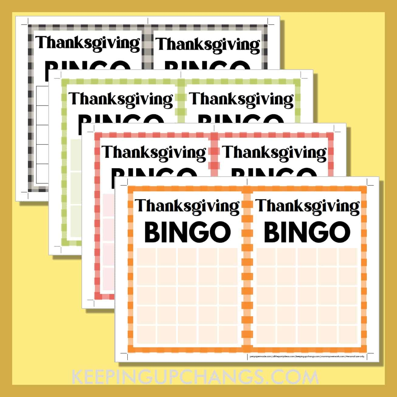 free blank thanksgiving bingo card printable templates in 3x3, 4x4 and 5x5 grids.