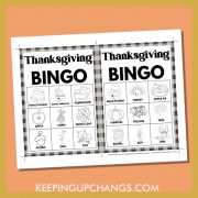free fall thanksgiving bingo card 3x3 5x7 black white coloring game boards with images and text words.