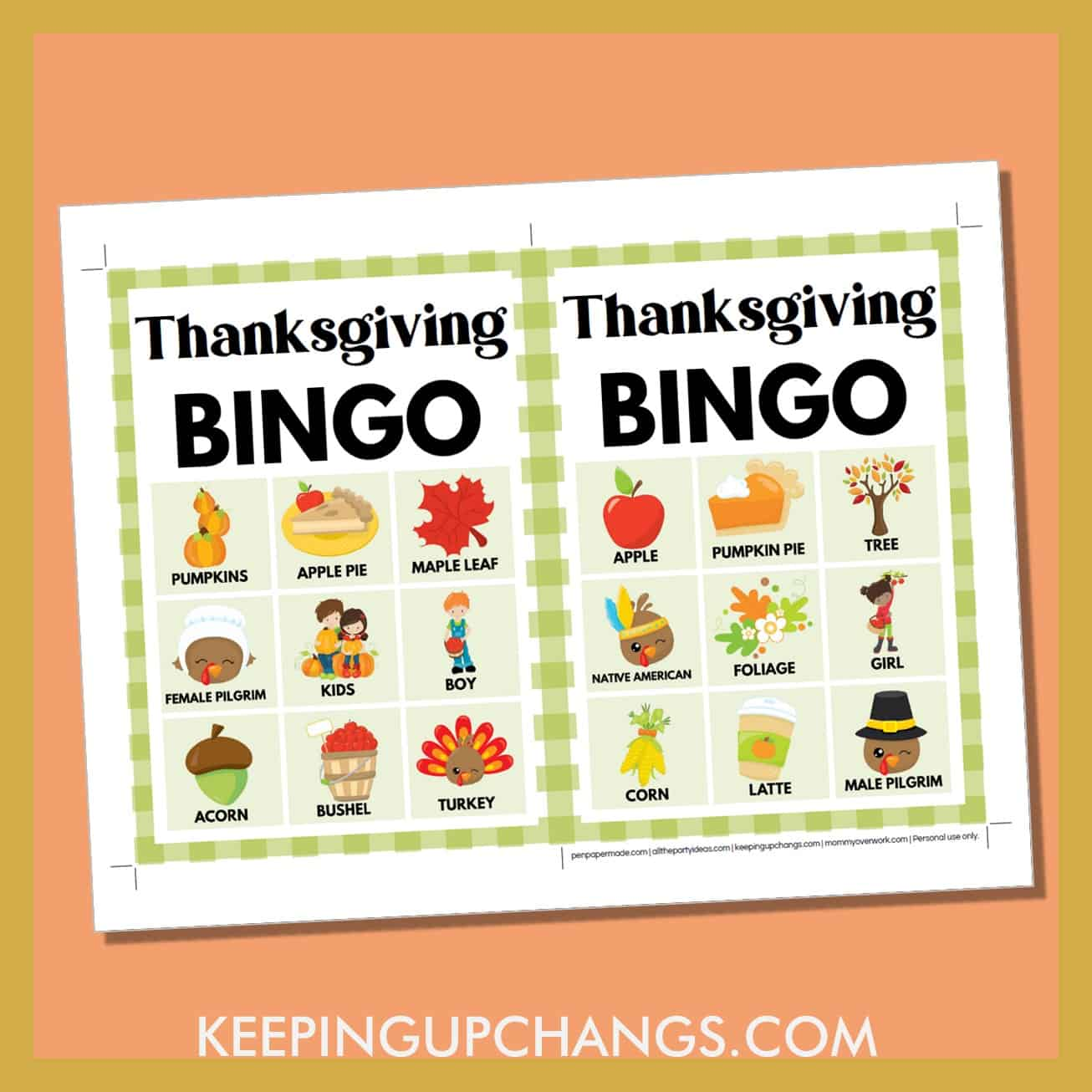 free fall thanksgiving bingo card 3x3 5x7 game boards with images and text words.