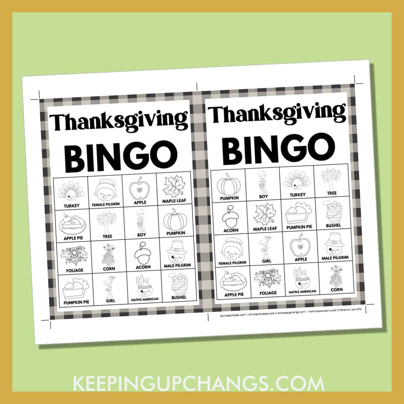 free fall thanksgiving bingo card 4x4 5x7 black white coloring game boards with images and text words.