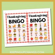free fall thanksgiving bingo card 4x4 5x7 game boards with images and text words.